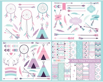 Clipart Bundle -  Tribal #2 / American Indian / Pink Purple / Bohemian Wedding - Digital Clip Art (Instant Download)