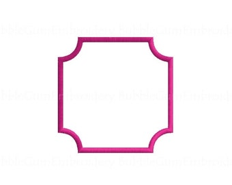 Square Frame Applique Embroidery Design Instant Download