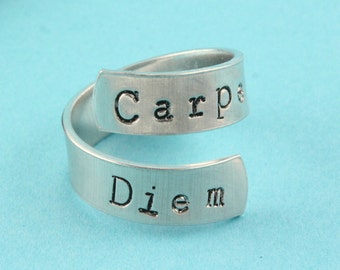 SALE - Carpe Diem Ring - Seize The Day - Adjustable Twist Aluminum Ring - Hand Stamped Ring
