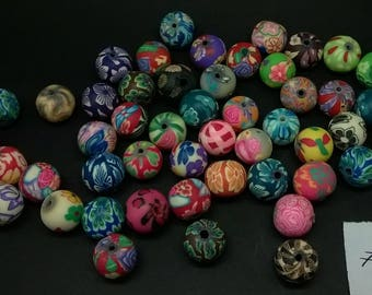 set of 50 polymer clay beads various patterns