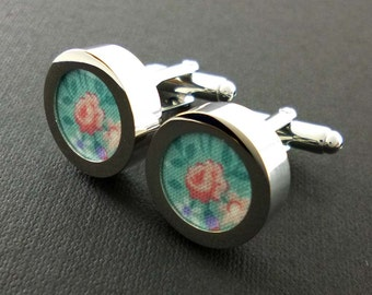 Aqua blue and pink rose mans cotton cufflinks - 2nd anniversary gift