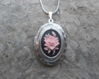 Cameo Locket!!! Pink Rose on Black Background!!! High Quality!!!  Weddings, Photos, Keepsakes