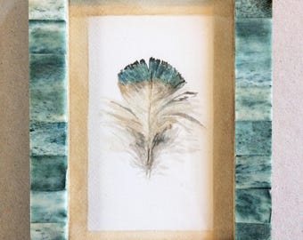 Framed Original Watercolor Painting- Feather, 4x6 inch