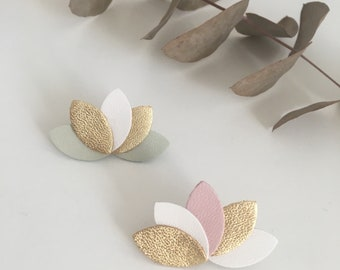 Petals of pastel flower leather brooch