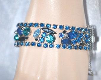 Vintage Juliana DeLizza Elster Bracelet Flat Blue Black Rhinestone