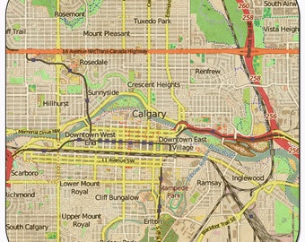 Calgary Vintage Map Coasters and other Merchandise