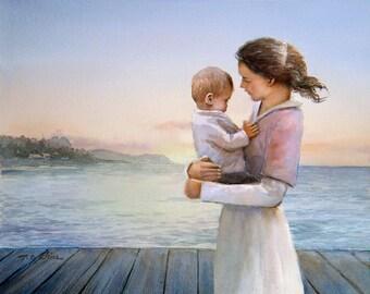 Mother and her Baby - Art Print - Love, Beach,  Nautical Nursery  - Ocean Waves, Nature