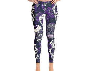 Purple Skull Leggings, Halloween Leggings, Halloween Skull Yoga Pants, Skull Pants Leggings, Yoga Pants, Leggings, Workout Pants