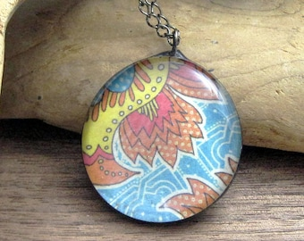 Colorful Simple Glass Pendant | Bohemian | Chain Necklace | Stained Glass | Fused Glass | Gift Under 25 | BOHO | Festival Jewelry | Gypsy