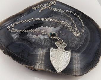 Arrowhead necklace - moonstone necklace - turquoise - arrowhead pendant - silver pendant - silver arrowhead - southwest pendant