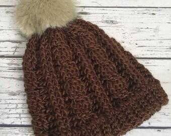 Women's Winter Hat, The Cassie Touque, Crochet Cable Hat, Women's Winter Hat, Ready to Ship