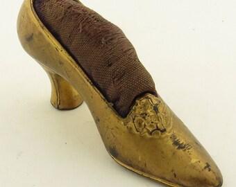 Antique Gilded Shoe Pin Cushion.