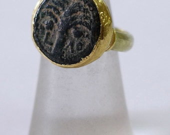 Ancient Coin Ring, Yellow Gold Coin Ring, 18K Solid Gold Ring with Ancient Coin, Ancient Jewelry, 18K Gold Ring, Antique Coin Ring