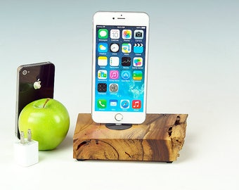 Wood Charging station for ANY iPhone, Natural live edge Walnut wood dock, Docking station, gift for him, USA, #756.