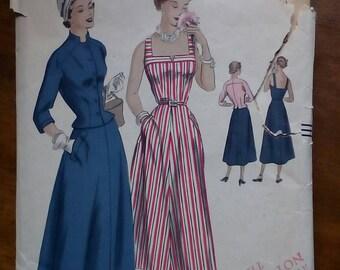 """1950s Dress & Jacket - 34"""" Bust - Vogue 6809 - Vintage Sewing Pattern"""