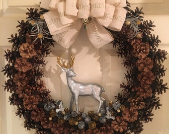 Pine Cones and Reindeers Wreath