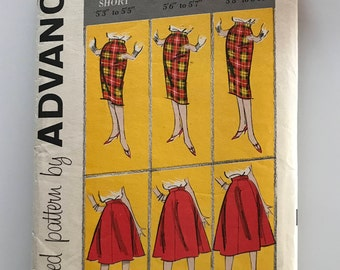 Vintage 1950s skirt pattern, waist 28, Advance 9247