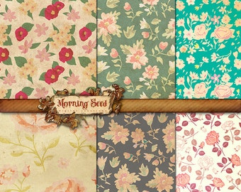 Floral background, Digital collage Sheet, 12 x 12 inch, Scrapbooking supplies, Printable high resolution paper