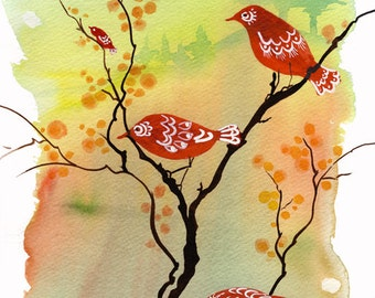 Dusk-Lit Gathering - Watercolor Art Giclee Print Birds Sunset Autumn Leaves Nesting Painting Available in Paper and Canvas by Olga Cuttell