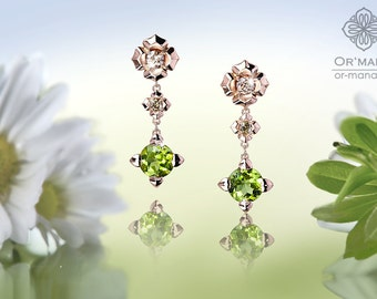 Earrings Pendant pink gold-detachable hangers with green, champagne-brown Diamonds & Peridots