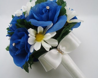 Blue Roses and White Daisies Wedding Bouquet, Bridesmaid Flowers, Bridal Party Decoration