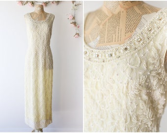 Glamorous 1960's Fully Beaded Gown - Pale Yellow Hand Beaded Vintage Formal Gown with Slits - Elegant Evening Gown by Ricky Bo