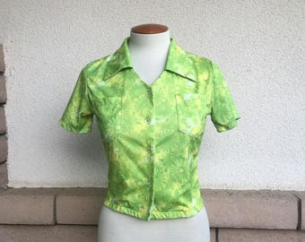 Vintage 90s Cropped Blouse Lemon Lime GERBERA DAISY Print Button Up Collared Crop Top XS-S