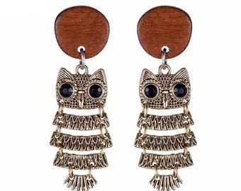 Vintage Cute Owl Wood Bead Women Earrings Long Earrings Silver Rare Jewelry