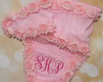 Baby Girl Pink Newborn Swaddle Blanket Pink Receiving Blanket with Pink Shabby Chiffon Flowers and Monogram