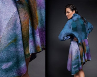 Wool robe, Blue wool coat, felted wool coat, hand-dye outerwear, colorful wool coat, colorful knitting, boiled wool coat, merino coat,