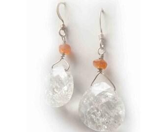 Orange carnelian and frosted white rock crystal quartz teardrop earrings in sterling silver - handmade jewellery, dangle earrings