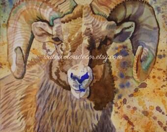 SALE Original Aries the Ram Watercolor Painting. Ram painting. Original watercolor. Ram wall art. Ram picture. Aries zodiac. Zodiac artwork.