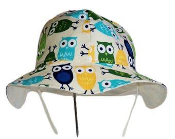 Baby Sun Hat, Toddler Sun Hat, Summer Hat, Owl Baby Hat, Baby Boy Or Baby Girl Sun Hat, Newborn Hat, Floppy Beach Hat, Infant Hat, Cotton