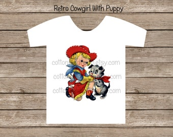 Retro Cowgirl With Puppy Clip Art C-338 for Personal and Commercial Use for Iron Ons, Heat Press, Posters, Banners