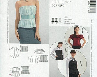 FREE US SHIP Burda 7088 Paneled Corset Bustier Strapless Tops Size 6-22 Sewing Pattern Factory Folded Unused Bust 30 32 34 36 38 40 42 44