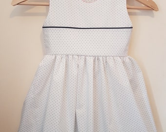 White & Blue Girls Dress - Age 4-5