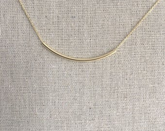 Curvy Bar Necklace Dainty Layering Necklace Korean Jewelry