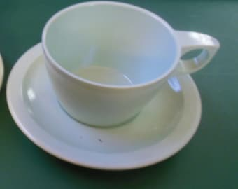 2 Texas Ware Melamine Melmac Cups and Saucers Preowned Mint Green