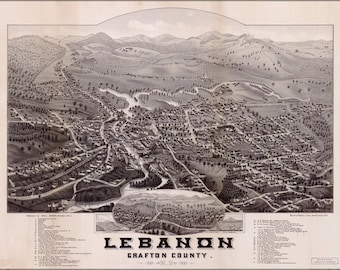 Poster, Many Sizes Available; Map Of Lebanon Grafton County New Hampshire 1884