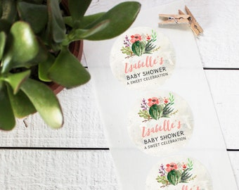 Cactus Flower Favor Labels - Bridal Shower Favor Label - Round Labels | Wedding Favor Labels | Floral Labels | Mason Jar Labels-ANY OCCASION