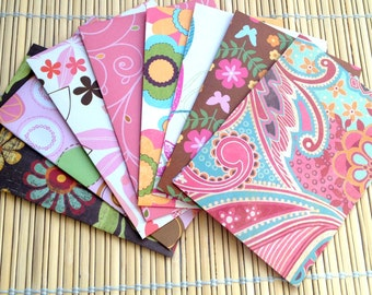 Handmade note cards, patterned envelopes and solid cards, set of 8