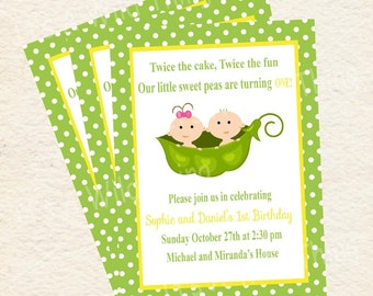 Peas in a Pod Printable Twin Birthday Party Baby Shower Invitations