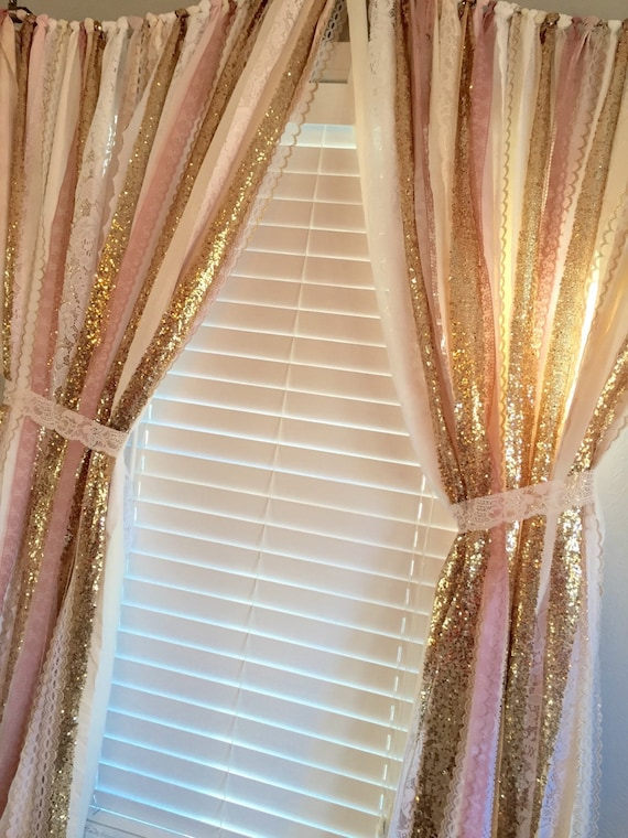 Pink & Gold Sparkle Sequin Garland Curtain with Lace Nursery