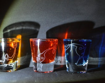 Pikmin set of 3 shot glasses