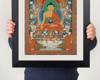 Buddha with halo Print, peaceful, worldwide dispatch 8 x 10 and 12 x 16 inch sizes