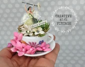 Fairy Kisses Miniature cup and saucer FAIRY GARDEN Vintage flowers assemblage~diorama