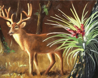 Deer painting by RUSTY RUST wildlife animal and air plant 24x36 oils on canvas / D-166