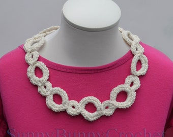 Crocheted Collar, Crochet Necklace, Knit Women Necklace, Crocheted, Yarn, Chain Necklace, Crochet Jewelry, Chunky Necklace, Gift for Her