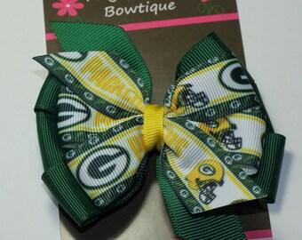 """3"""" Green Bay Hair Bow-Team Bows-Toddler Hair Bow-Alligator Clip"""