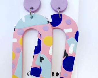 Space Cadet - Polymer clay statement dangle earrings